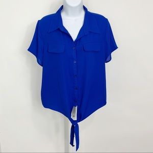SHINESTAR Front Button/Tie Blouse Size XL